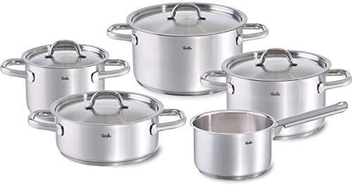 Fissler family line / Juego de ollas de acero inoxidable, compuesto por 5piezas (3 ollas de coccin, 1 rustidera, 1 cazo) con tapaderas, lavable en el lavavajillas y apto para induccin