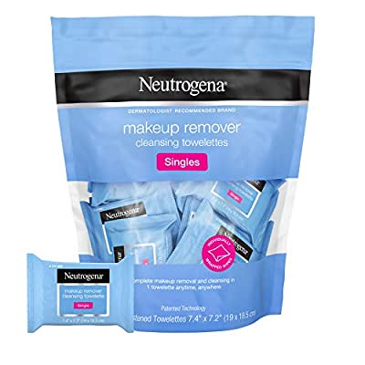 20-count of individually wrapped pre-moistened Neutrogena Make up Remover Face Wipe Singles. Individually wrapped facial cleansing Towelettes are perfectly protected so you always have a fresh and effective wipe for complete cleansing and makeup remo...