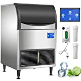 VEVOR 110V Commercial Ice Maker 175LBS/24H with 121LBS Large Storage Capacity, Advanced 5.0 Inch LCD Panel with WIfI System, Clear Cube, Air-Cooled, Include Electric Drain Pump and 2 Water Filter