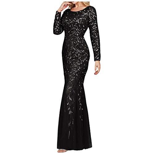 ZODOF Vestido de Noche de Lentejuelas para Mujer de los con