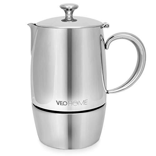 VeoHome - Cafetera Italiana de Acero Inoxidable 6 tazas 300 ml – Cafetera Moka Italiana para cocinas Inducción, Vitrocerámica y de Gas - Estilo Espresso – Irrompible, Segura y apta para Lavavajillas