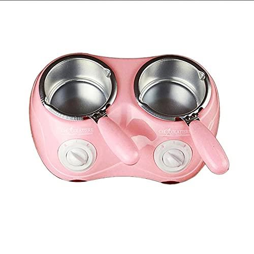 PANJAZE Elektrische Schokoladenschmelzer, doppelte Schokoladenschmelzgeräte elektrische Schokolade, dauerhaft mit Form für DIY Kitchen Tool (Color : Pink)