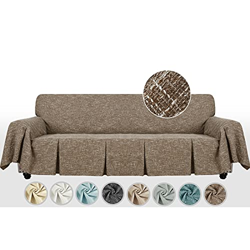 MAXIJIN Copridivano extra large in lino per divano a 3 o 4 posti Copridivano oversize con copridivano per divano a volant per soggiorno (4 Seater, Caff)