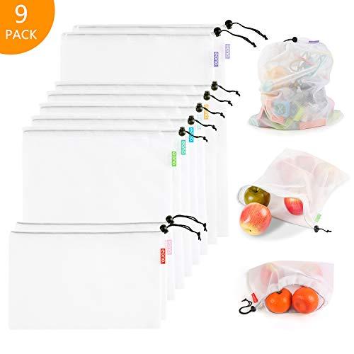 Eono by Amazon - Bolsas Compra Reutilizables Ecológicas Bolsa de Malla para Almacenamiento Fruta Verduras Juguetes Lavable y Transpirable 3 Diversos Tamaños, 9 Pcs (2L+5M+2S)