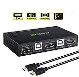 AIMOS HDMI KVM Switch, USB 2 Ports PC Computer KVM Umschalter Tastatur und Maus teilen Unterstützung 4K @ 30Hz 3D für Laptop, PC, PS4, Xbox HDTV - Mit 2 USB Kabeln, 1 HDMI Kabel
