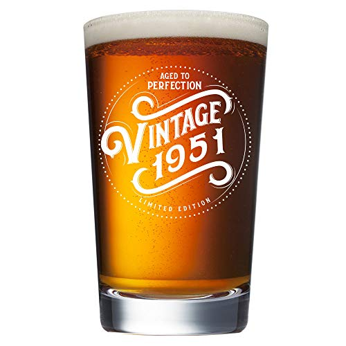 70th Birthday Gifts for Men 1951 - 16 oz Beer Pint Glass -...