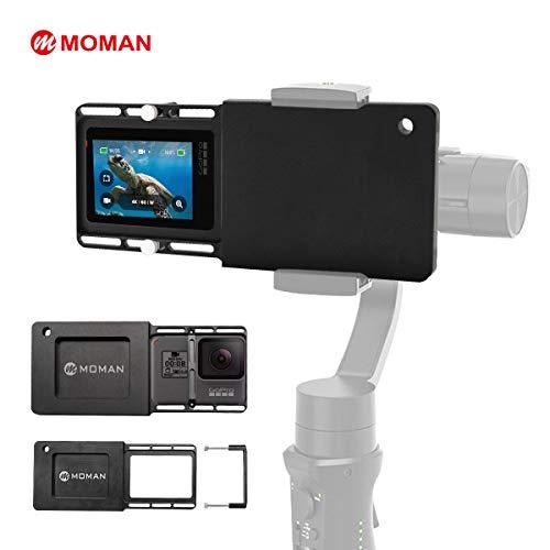 Moman Adattatore-Gopro-Gimbal-Piastra-Alluminio per GoPro 3+/4/5/6/7 sul Smartphone Gimbal Zhiyun Smooth/DJI Osmo Mobile/Feiyu/MOZA