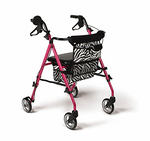 Medline Posh Premium Lightweight Foldable Aluminum Rollator Walker with 6 Inch Wheels, Pink