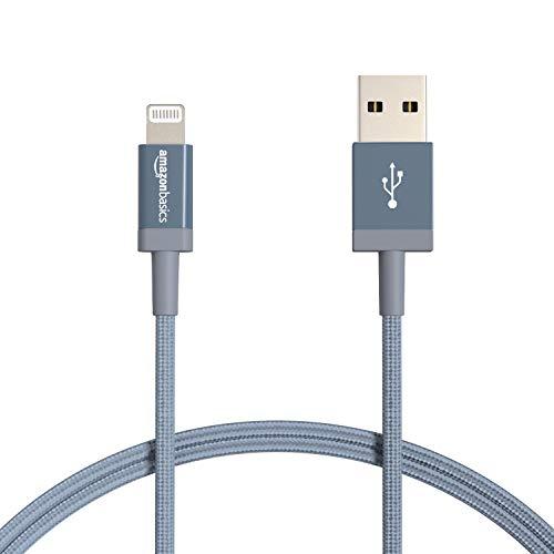 Amazonベーシック ライトニングケーブル ナイロン編組 USB MFi認証済 iPhone充電ケーブル ダークグレー 0.9...