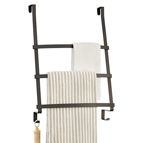 mDesign Modern Decorative Metal Over Shower Door Towel Rack...