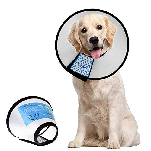 Supet Dog Cone Adjustable Pet Cone Pet Recovery Collar Comfy Pet Cone Collar Protective Collar for After Surgery Anti-Bite Lick Wound Healing Safety Practical Plastic E-Collar for Dogs and Cats