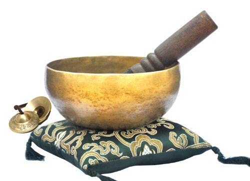 6' Tibetan Singing Bowl ~ Superb B Crown Chakra Bowl for Meditation, Yoga, Healing, Mindfulness, Relaxation & Sound Therapy~ with Wooden Mallet, Green Square Cushion,Tingsha Bell~Handmade in Nepal