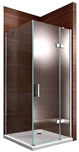 Duschkabine Eckdusche 8 mm Nano Echtglas DX403 - Breite wählbar, Montage:Einbau Rechts, Breite Türelement:90cm, Breite Glas feststehend:90cm