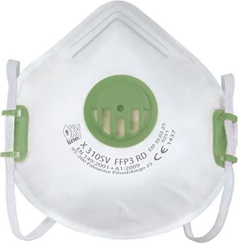 Respiratore Oxyline X 310 SV FFP3 R D Maschera di protezione riutilizzabile con valvola - 10 pezzi