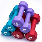 Fitness Alley Neoprene Dumbbells - Free Weights Hex Hand Weights - Dumbbell Pairs Combo Set - 3 Dumbbell Set - (8lbs, 10lbs & 12lbs Pairs)