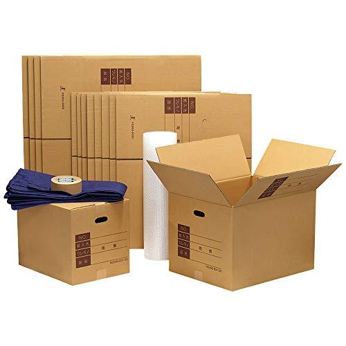 ボックスバンク ダンボール 引越しセットS ●ダンボール箱(大・中)15枚、プチプチ、クラフトテープ 引っ越し段ボール ZH07-0015-a