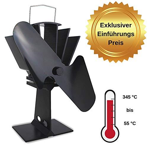 Ofenventilator stromlos für Kaminöfen, Kamin, Holzöfen, 2 Flügel (Rotoren) Ventilator, Kaminventilator, Kamin Ventilator, Umweltfreundlich für eine bessere Energieeffizient, 55 °C Starttemp