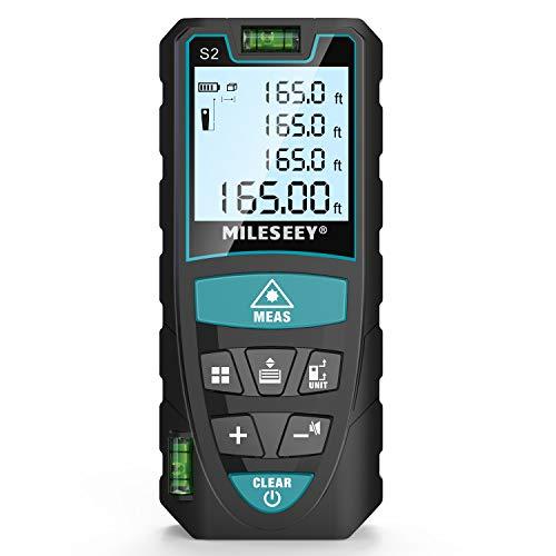 Laser Entfernungsmesser, Mileseey 50m Distanzmessgerät mit 2 Blasenebenen & LCD Hintergrundbeleuchtung m/in/ft/ft+in von Multimessmodus Pythagoras, Fläche, Volumen Automatische Berechnung, IP54 - S2