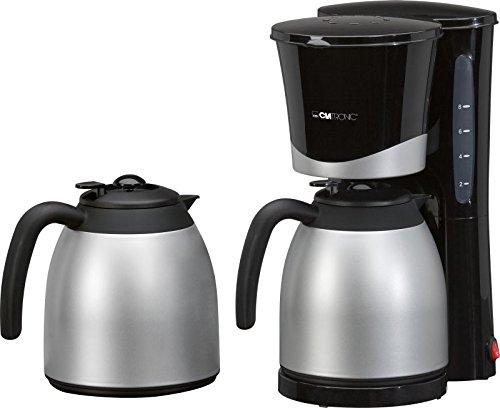 Kaffeemaschine mit Thermoskanne 2 Stück 1 Liter Wasserstandsanzeige Kaffeeautomat 10 Tassen (Herausnehmbarer Filtereinsatz, Isolierkanne, 870 Watt, Schwarz)