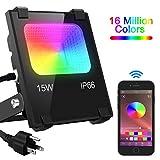 LED Flood Light 100W Equivalent, Outdoor Color Changing Led Stage Landscape Lighting, RGB Bluetooth Smart Floodlights 2700K & 16 Million Colors&Timing& Music Sync, IP66 Waterproof US 3-Plug (1 Pack)