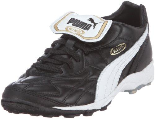 PUMA King Allroung TT Dames   100% leren buitenkant, binnenzijde van textiel   Kleine rubberen noppen   Hakhoogt 3 cm   Speciaal voor zaalvoetbal   Retro-design in zwart, wit en goud
