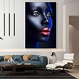 Impresión de arte en lienzo Carteles de lienzo de mujer africana Ojos...