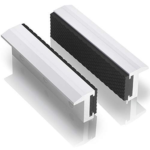 "TRISENSE Vise Jaw Covers,Aluminum Multipurpose 6""Soft Vice Inserts-Use On Any Drill Press Vise As Accessories,White Vise Jaws Pads(2 Pack in 1)"