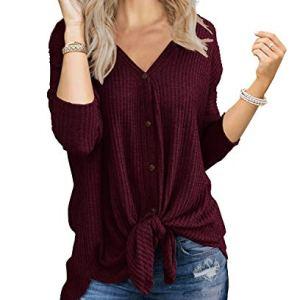 IWOLLENCE Womens Waffle Knit Tunic Blouse Tie Knot Henley Tops Loose Fitting Bat Wing Plain Shirts 40