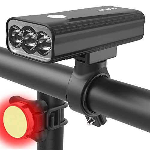 BIKIL luci bici led 6400mAh luce anteriore bici Ricaricabili USB Luce Bici Anteriore e Posteriore potente 2400 Lumens Impermeabile IPX5 Set di luci per Bicicletta per Strada e Montagna
