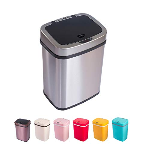Home&Decorations Sensor Mülleimer 12 Liter Automatik Abfalleimer bunt Push Kücheneimer umweltfreundlich Küche Bad Wohnzimmer (12 L, Edelstahl)