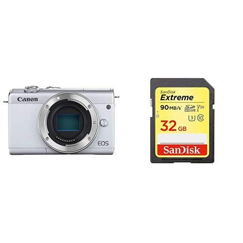 Canon キヤノン ミラーレスカメラ EOS M200 (ホワイト) EOSM200WH-BODY-A + Sandisk SDカードセット