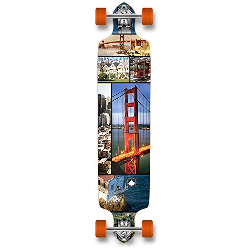 Yocaher Professional Speed Drop Down Complete Longboard Skateboard (San Francisco)