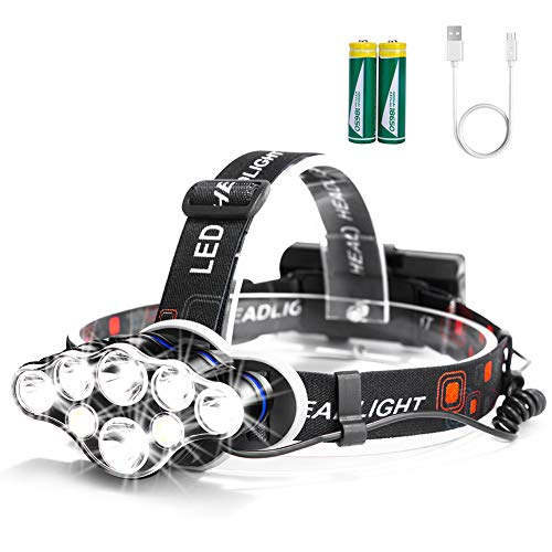 Arzopa Lampade da Testa LED USB Ricaricabile, Torcia Lampade Frontale 13000 Lumens e 8 Modalit, Super Luminosa Impermeabile Perfetta per Correre, Campeggiare, Pescare, Cacciare o Fare Escursioni