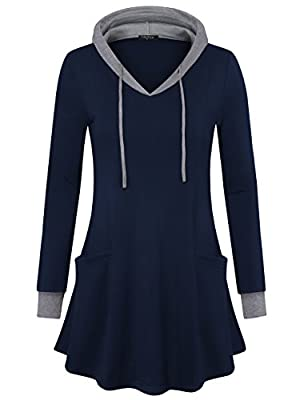Drawstring hood,color block details and functional pockets makes the tunic sweatshirt casual and cute High elastic knit fabric make the lightweight hoodie feels soft stretchy and comfortable to your skin.Not too thin or too thick, super soft and brea...