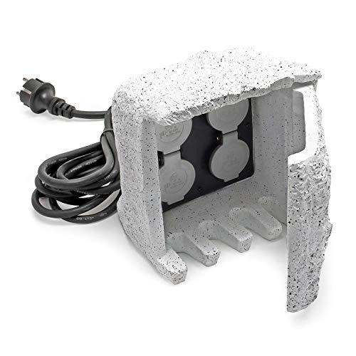 4-fach Gartensteckdose Außensteckdose Kunstharz IP44 Outdoor Steinoptik 1.5m Kabel