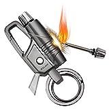 BOLLAER Allume-feu en métal à silex avec porte-clés, lampe de poche pour...