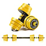 CDCASA Adjustable Dumbbells, 88 Lbs Free Weight Set, Dumbbell Barbell 2 in 1, Solid and Configurable with Rubbery Protective Cover, Easy Assembly and Save Space, Home Gym Equipment for Men and Women