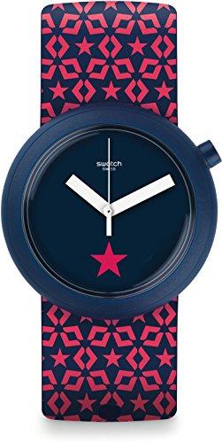 Swatch Damen Digital Quarz Uhr mit Silikon Armband PNN100