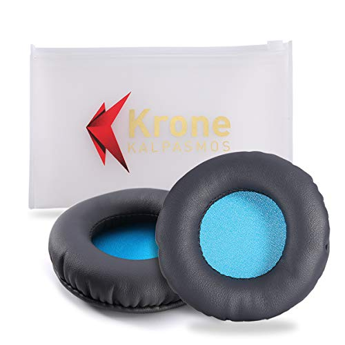 75MM Ear Pads for JVC HA-NC80/Audio Technica ATH-S200BT/Sony MDR-NC6/Pioneer SE-MJ721/AKG Headphones (Full List Inside), Krone Kalpasmos Grey Leather Blue Dust Mat Replacement Ear Cushions (Grey&Blue)