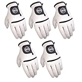 Pack of 5 White All Weather Synthetic Golf Gloves with Cabretta Leather Palm and Thumb X-Large (Left...