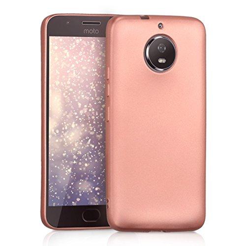 kwmobile Funda Compatible con Motorola Moto G5S - Carcasa móvil de Silicona - Protector Trasero en Oro Rosa Metalizado