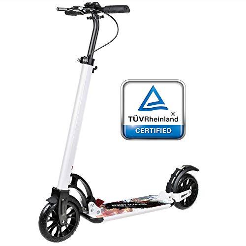 besrey Big Wheel Scooter Tret-Roller City-Scooter ab 8 Jahre mit Big 205mm Wheel mit XXL Trittbrett, Vollfederung und Handbremse für Kinder und Erwachsene Weiss
