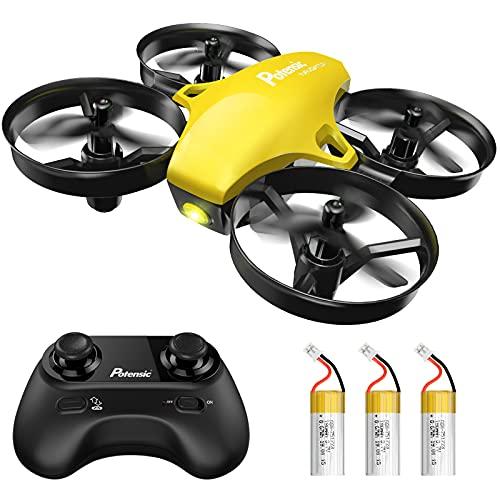 Potensic Mini Drone per Bambini e Principianti con 3 Batterie, Quadricottero RC, Mini Drone Telecomandato Avvio / Atterraggio con Un Clic, modalit Senza Testa, Drone Giocattolo Tascabile A20 Giallo