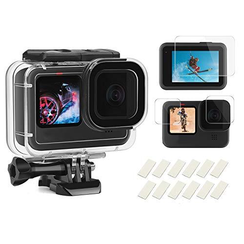 SHOOT 60M Custodia impermeabile Shell per GoPro Hero 9, custodia protettiva subacquea con pellicola salvaschermo temperata e inserto anti-appannamento per GoPro Hero 9, nero