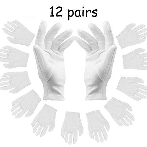 Guanti Bianchi Cotone, 12 paia bianco idratante guanti, tessuto bianco, guanti morbidi, Sottile...