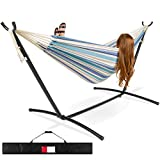 Best Choice Products 2-Person Indoor Outdoor Brazilian-Style Cotton Double Hammock Bed w/Carrying Bag, Steel Stand, Ocean