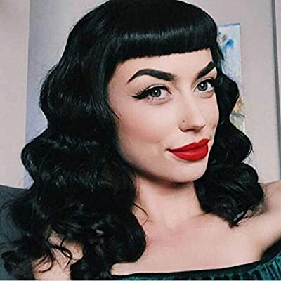 Material: Top Quality Heat Resistent Synthetic Fiber, human + machine made, our wigs are durable enough for long term use. Package includes 1 wig, 1 free hair cap, and a free eyelash. Features: Bettie page bangs like short Hepbum bangs, retro 1940s h...
