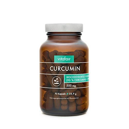 VITAFAIR Curcuma Extrakt (1000mg hochdosiert pro Tag), German Quality - 90 Kurkuma Kapseln mit 95% = 950mg (BCM95) pro Tagesdosis, Curcumin & Piperin, Kurkumin Kapseln vegan & ohne Magnesiumstearat