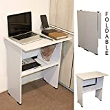 Spacecrafts Wooden Folding Computer Table for Laptop Study Office Desk (Standard, White)
