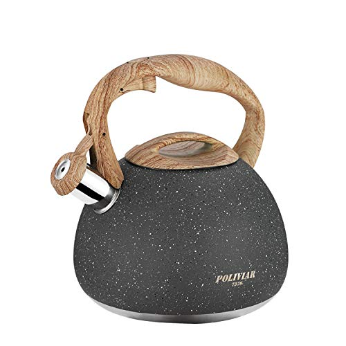 Poliviar Tea Kettle, 2.7 Quart Natural Stone Finish with...